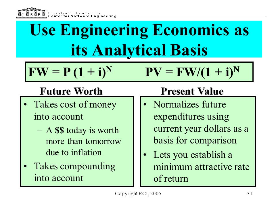 Copyright RCI, 200531 Use Engineering Economics as its Analytical Basis Takes cost of money into account –A $$ today is worth more than tomorrow due t