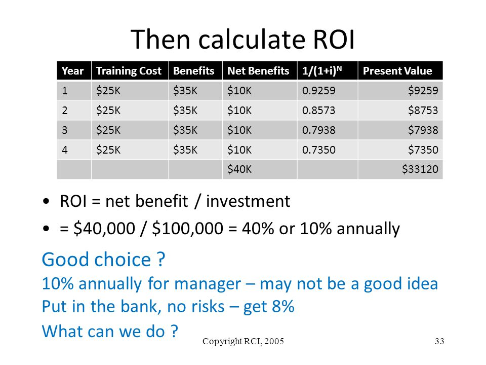 Then calculate ROI ROI = net benefit / investment = $40,000 / $100,000 = 40% or 10% annually Copyright RCI, 200533 YearTraining CostBenefitsNet Benefi
