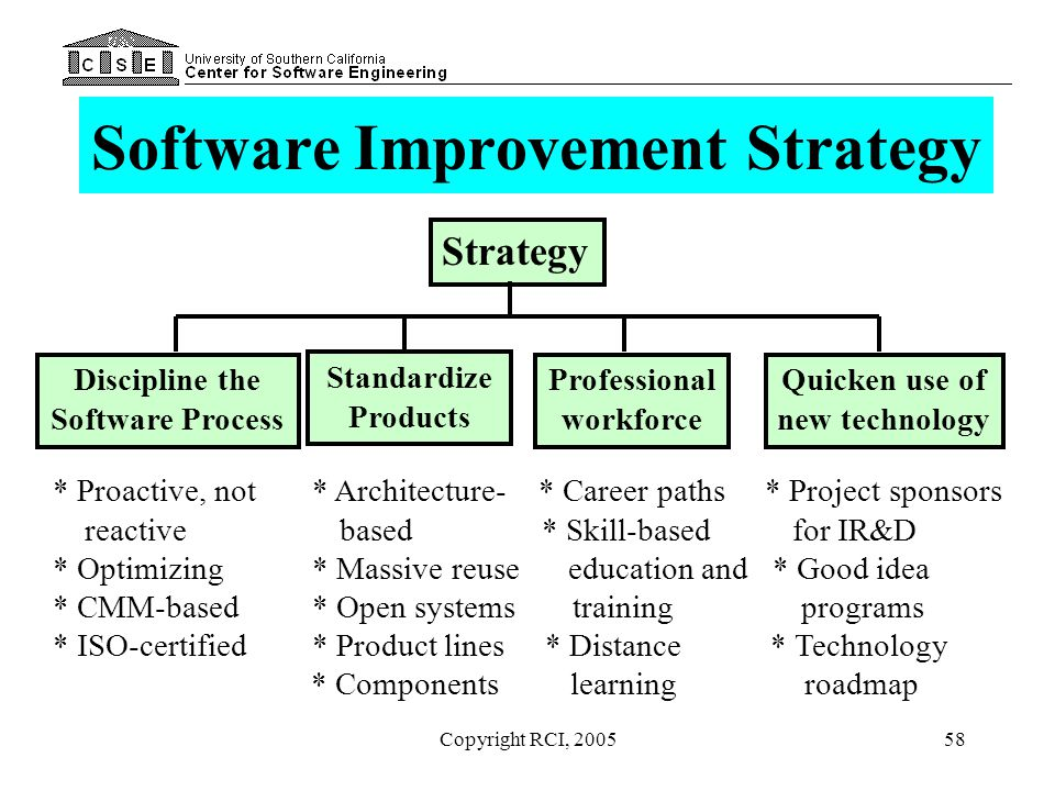 Copyright RCI, 200558 Software Improvement Strategy Strategy Discipline the Software Process Standardize Products Professional workforce Quicken use o
