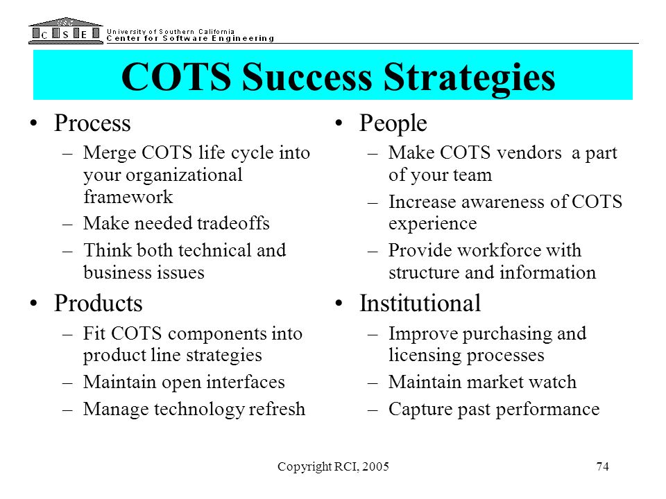Copyright RCI, 200574 COTS Success Strategies Process –Merge COTS life cycle into your organizational framework –Make needed tradeoffs –Think both tec
