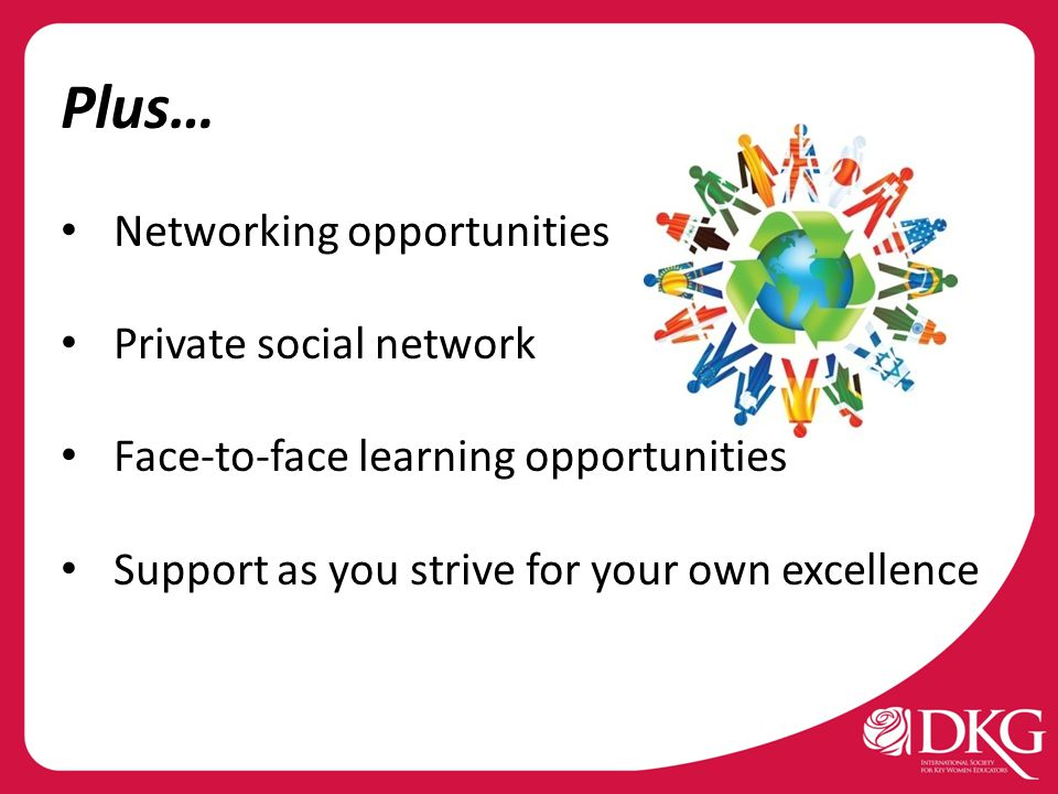 Plus… Networking opportunities Private social network Face-to-face learning opportunities Support as you strive for your own excellence