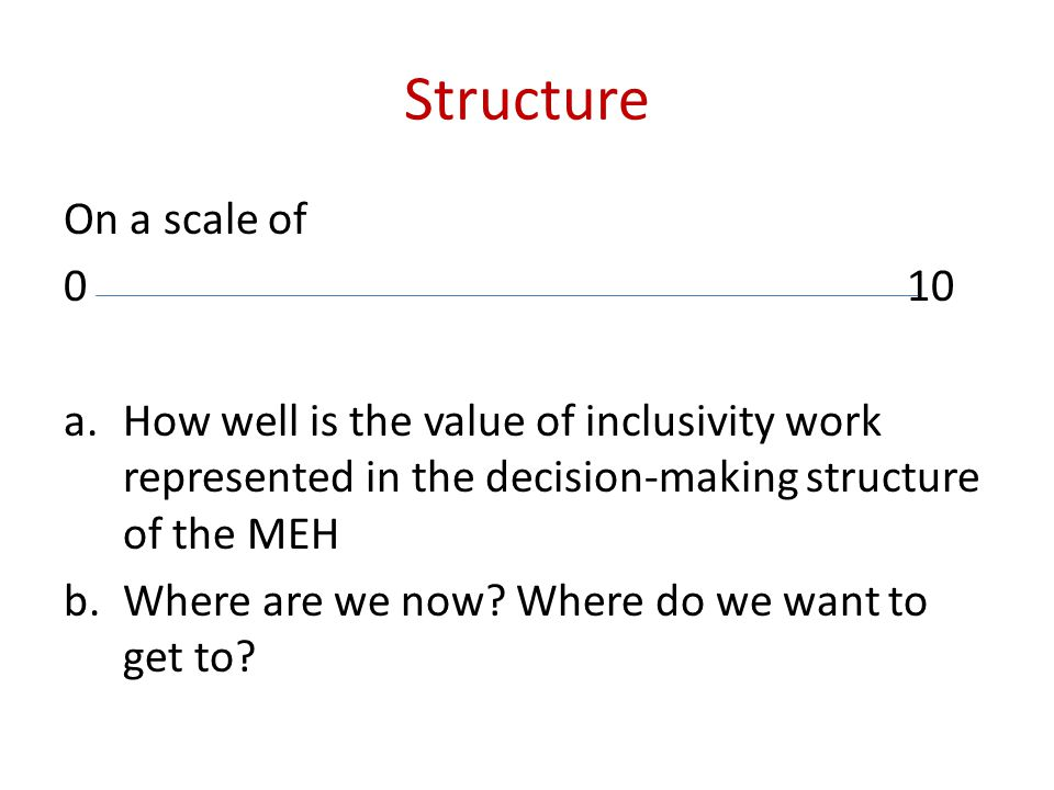 Structure On a scale of 010 a.How well is the value of inclusivity work represented in the decision-making structure of the MEH b.Where are we now.