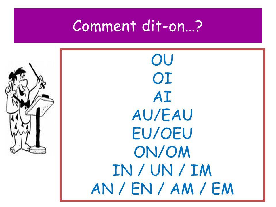 Comment dit-on…? OU OI AI AU/EAU EU/OEU ON/OM IN / UN / IM AN / EN / AM / EM