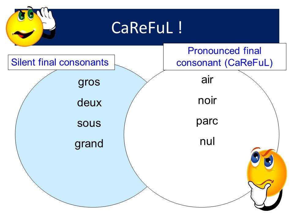 CaReFuL ! gros deux sous grand air noir parc nul Silent final consonants Pronounced final consonant (CaReFuL)