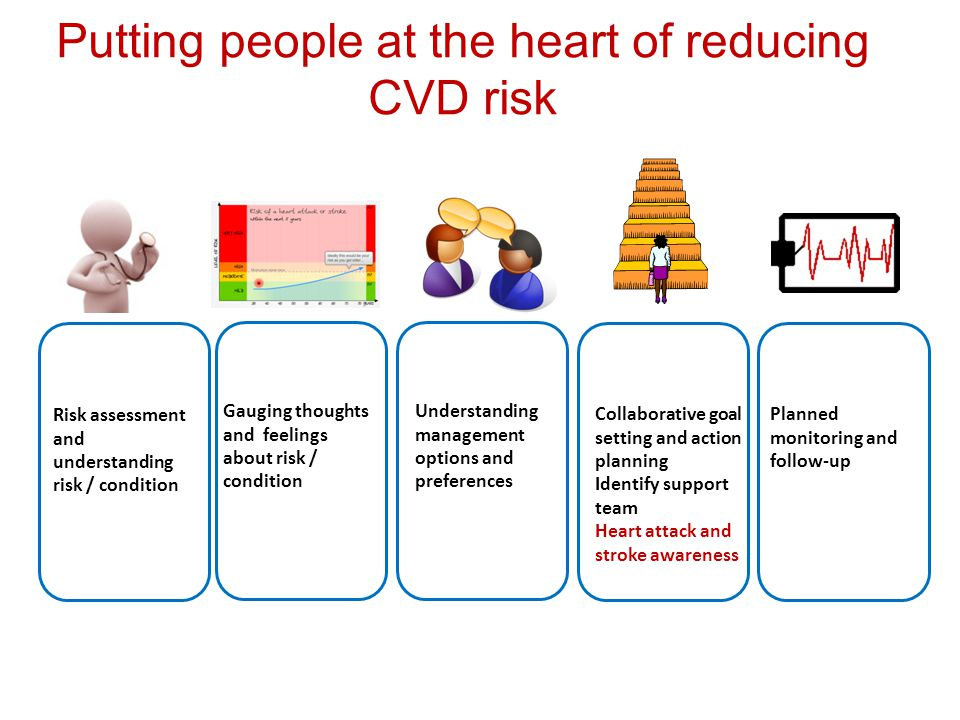 Risk assessment and understanding risk / condition Gauging thoughts and feelings about risk / condition Understanding management options and preferences Collaborative goal setting and action planning Identify support team Heart attack and stroke awareness Planned monitoring and follow-up Putting people at the heart of reducing CVD risk