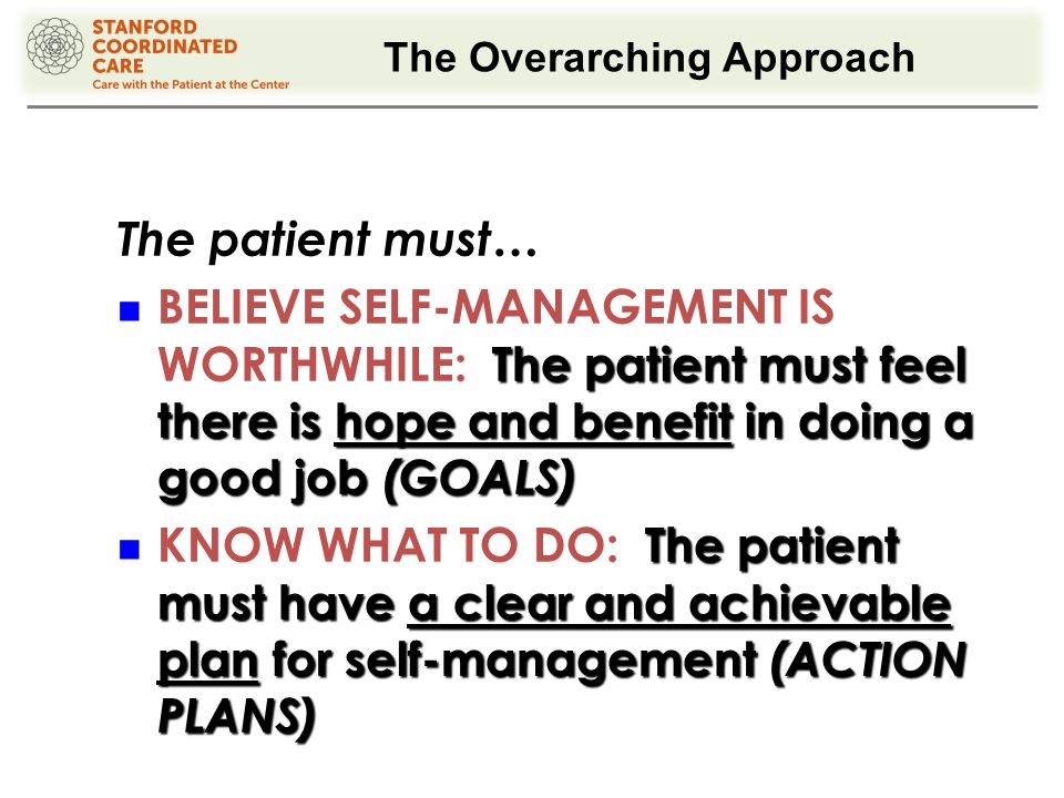 The Overarching Approach The patient must… The patient must feel there is hope and benefit in doing a good job (GOALS) BELIEVE SELF-MANAGEMENT IS WORTHWHILE: The patient must feel there is hope and benefit in doing a good job (GOALS) The patient must have a clear and achievable plan for self-management (ACTION PLANS) KNOW WHAT TO DO: The patient must have a clear and achievable plan for self-management (ACTION PLANS)