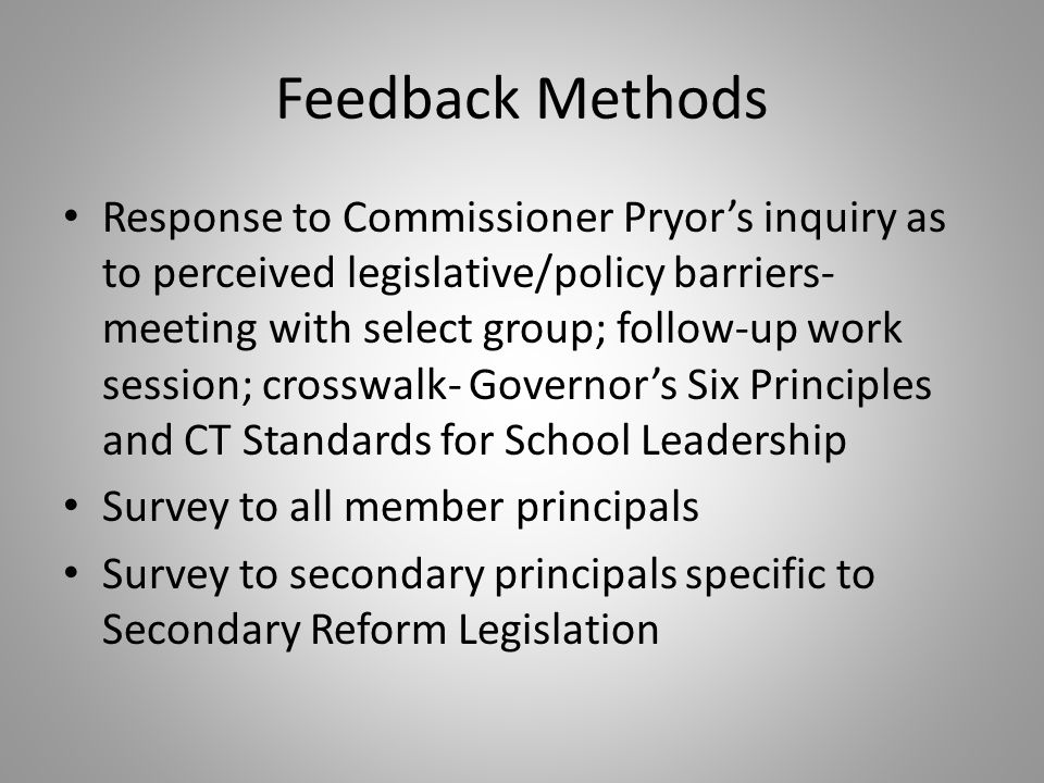 General Summary of Responses Secondary reform is necessary Many schools have reform efforts underway and programs in place Need guidance on implementation Concern for impact on districts, specifically largest and smallest- funding, staffing, curricular reform and scheduling Connection to other reforms- Common Core standards and assessments, Evaluation, ESEA waiver implications Ongoing fiscal support