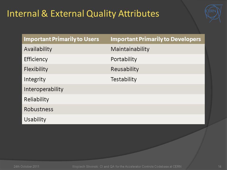 Internal & External Quality Attributes 14 Important Primarily to UsersImportant Primarily to Developers AvailabilityMaintainability EfficiencyPortabil
