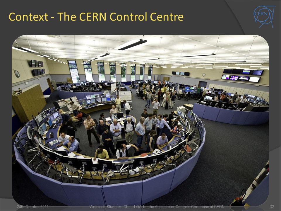 Context - The CERN Control Centre 24th October 201132Wojciech Sliwinski: CI and QA for the Accelerator Controls Codebase at CERN
