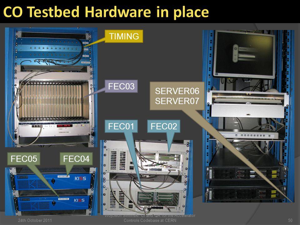 TIMING FEC03 FEC01 FEC02 FEC04FEC05 SERVER06 SERVER07 5024th October 2011 Wojciech Sliwinski: CI and QA for the Accelerator Controls Codebase at CERN