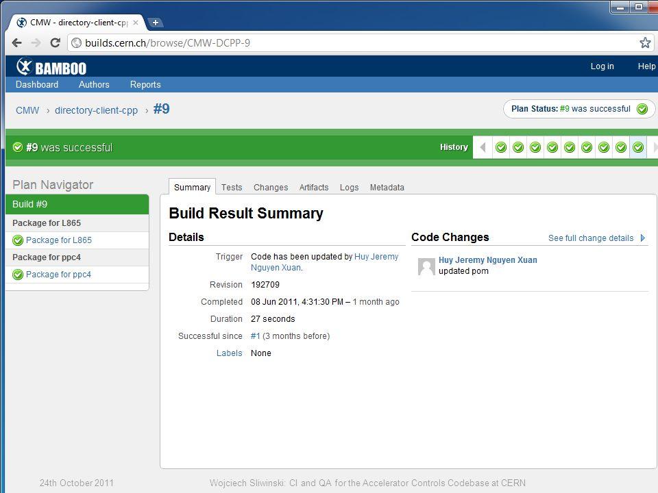 5524th October 2011Wojciech Sliwinski: CI and QA for the Accelerator Controls Codebase at CERN
