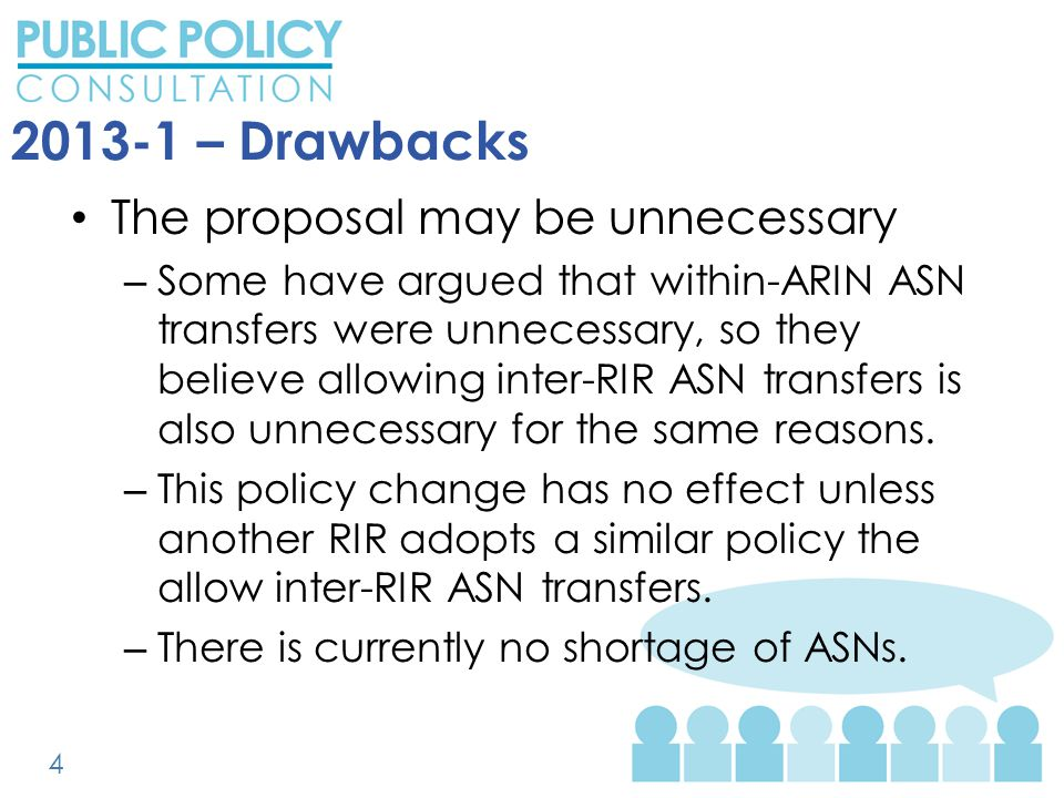 2013-1 – Drawbacks The proposal may be unnecessary – Some have argued that within-ARIN ASN transfers were unnecessary, so they believe allowing inter-RIR ASN transfers is also unnecessary for the same reasons.