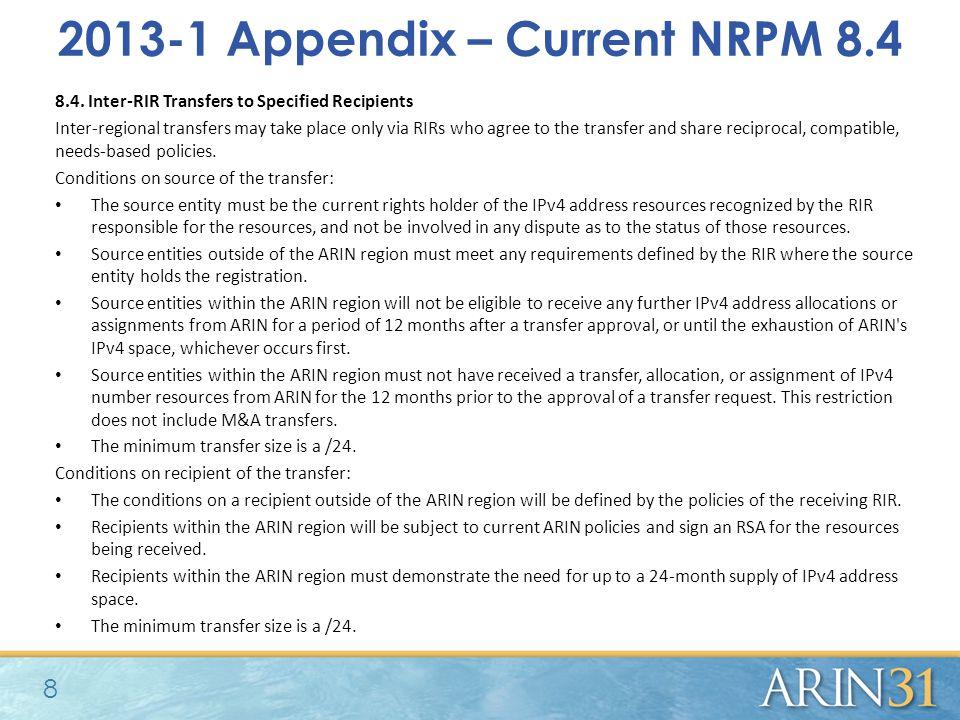 2013-1 Appendix – Current NRPM 8.4 8.4.