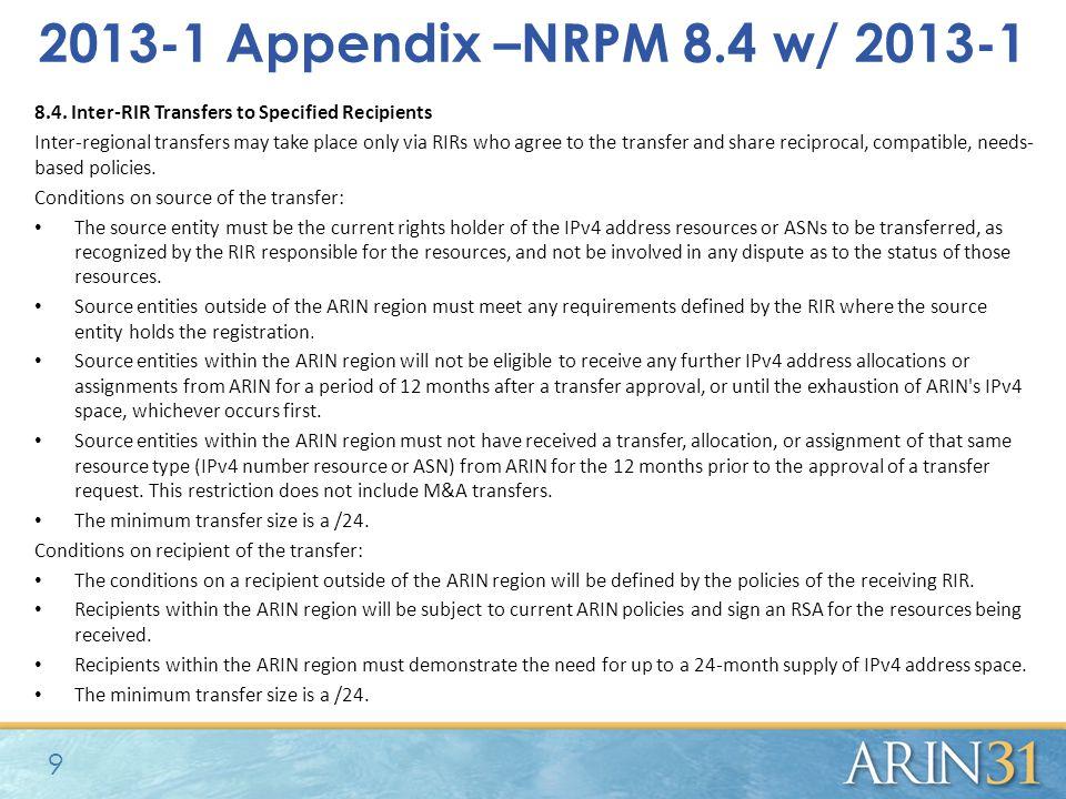 2013-1 Appendix –NRPM 8.4 w/ 2013-1 8.4.