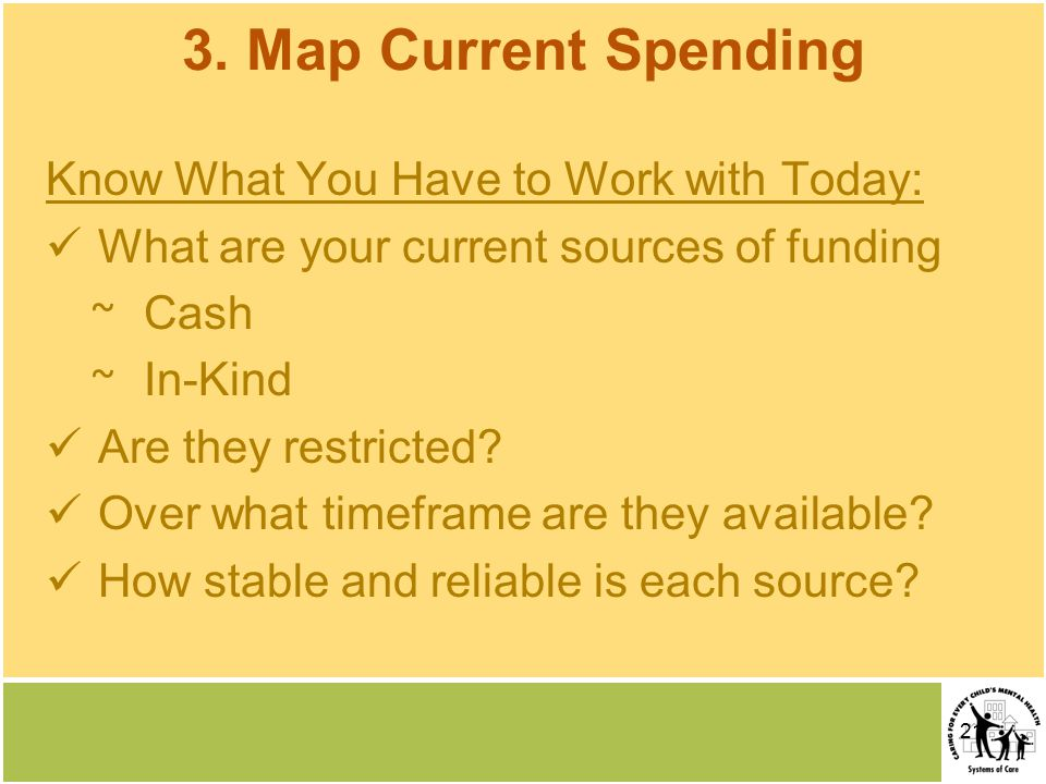21 3. Map Current Spending Know What You Have to Work with Today: What are your current sources of funding ~ Cash ~ In-Kind Are they restricted? Over
