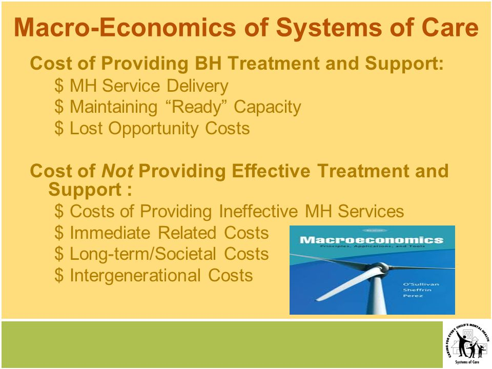 Macro-Economics of Systems of Care Cost of Providing BH Treatment and Support: $MH Service Delivery $Maintaining Ready Capacity $Lost Opportunity Costs Cost of Not Providing Effective Treatment and Support : $Costs of Providing Ineffective MH Services $Immediate Related Costs $Long-term/Societal Costs $Intergenerational Costs