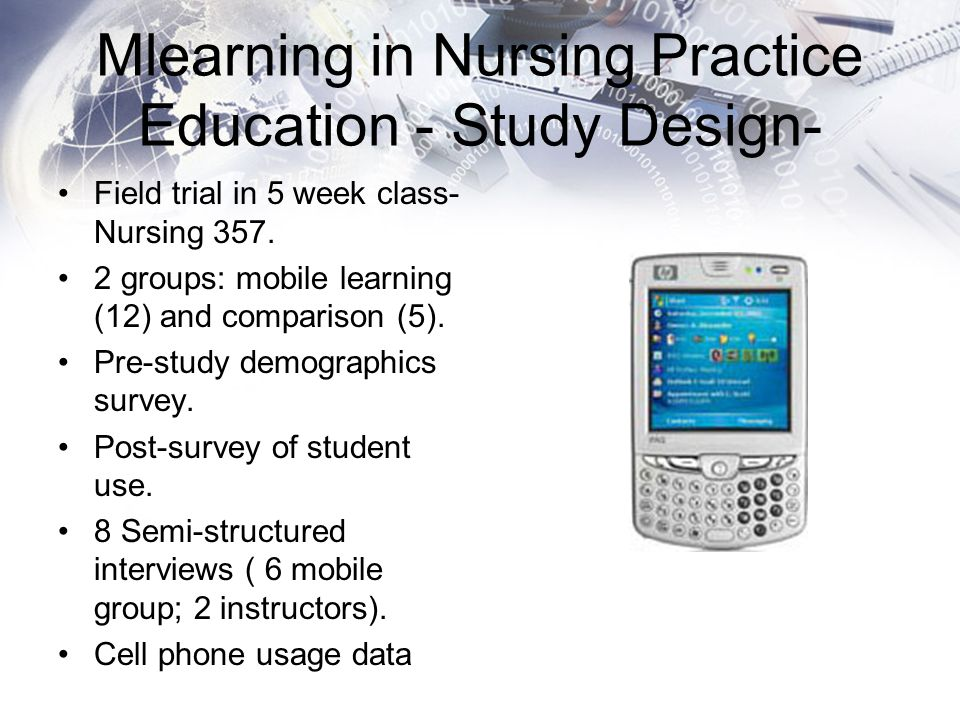 Mlearning in Nursing Practice Education - Study Design- Field trial in 5 week class- Nursing 357. 2 groups: mobile learning (12) and comparison (5). P