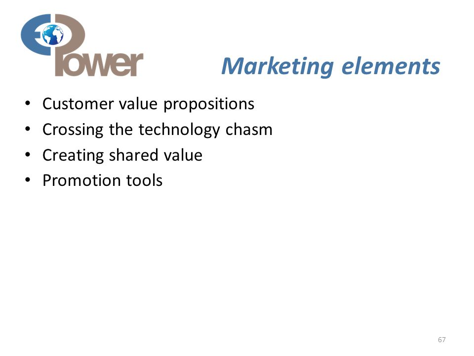 67 Marketing elements Customer value propositions Crossing the technology chasm Creating shared value Promotion tools