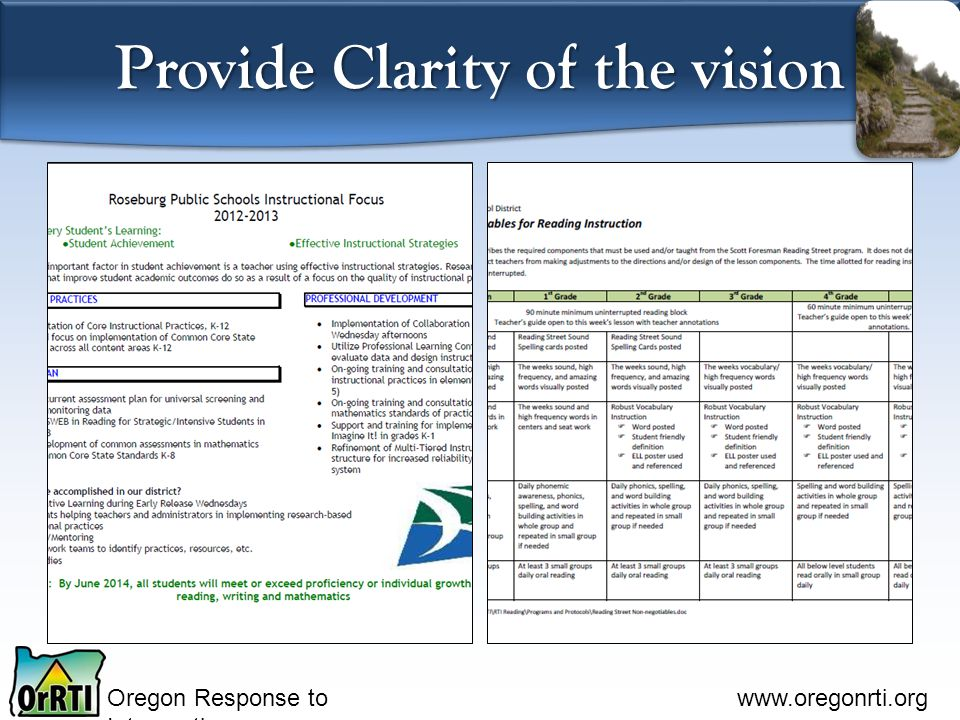 Oregon Response to Intervention www.oregonrti.org Provide Clarity of the vision