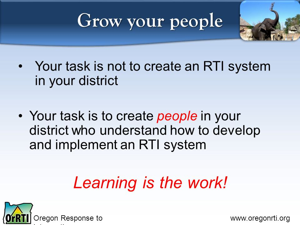 Oregon Response to Intervention www.oregonrti.org Grow your people Your task is not to create an RTI system in your district Your task is to create people in your district who understand how to develop and implement an RTI system Learning is the work!