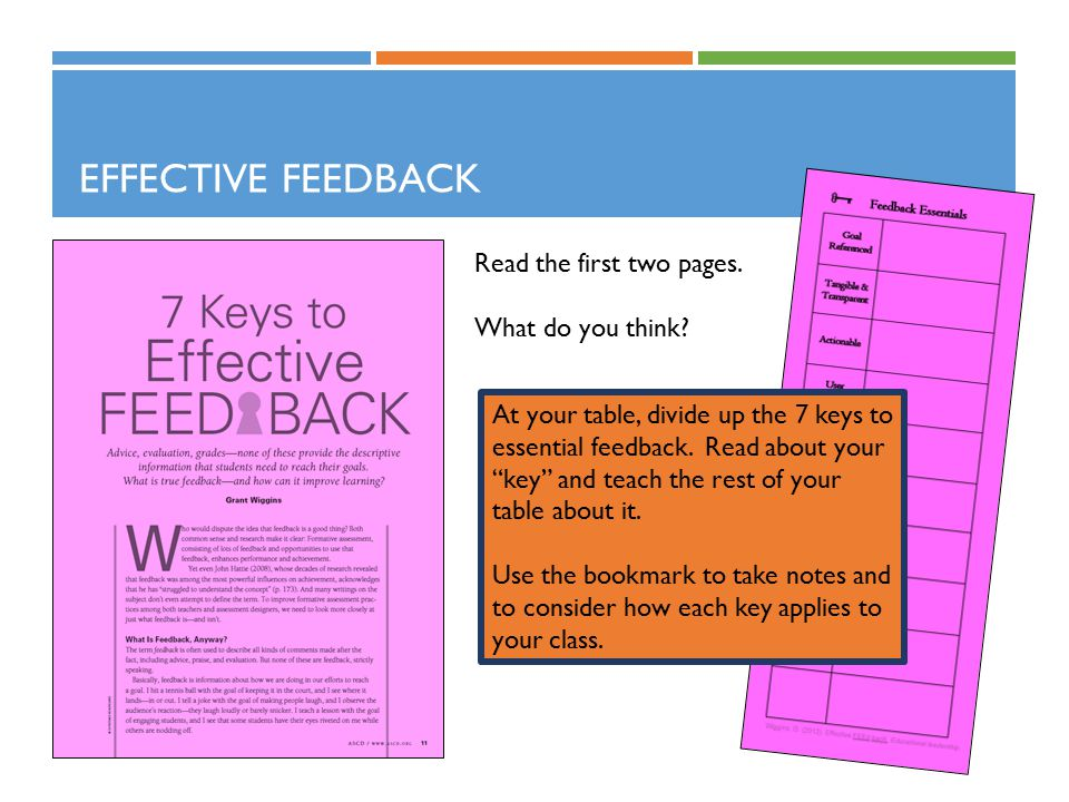 "EFFECTIVE FEEDBACK Read the first two pages. What do you think? At your table, divide up the 7 keys to essential feedback. Read about your ""key"" and t"