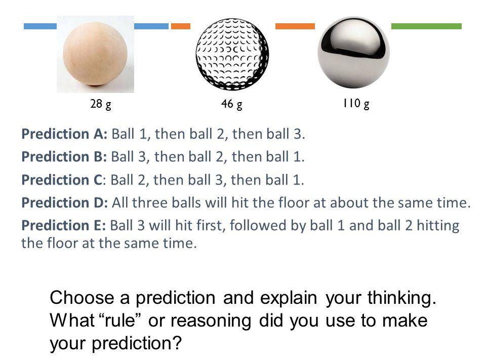 Prediction A: Ball 1, then ball 2, then ball 3. Prediction B: Ball 3, then ball 2, then ball 1.