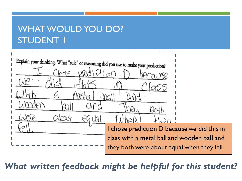 WHAT WOULD YOU DO.STUDENT 1 What written feedback might be helpful for this student.