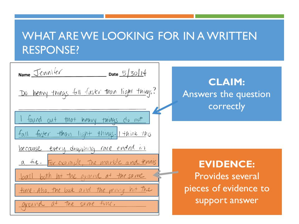 WHAT ARE WE LOOKING FOR IN A WRITTEN RESPONSE.