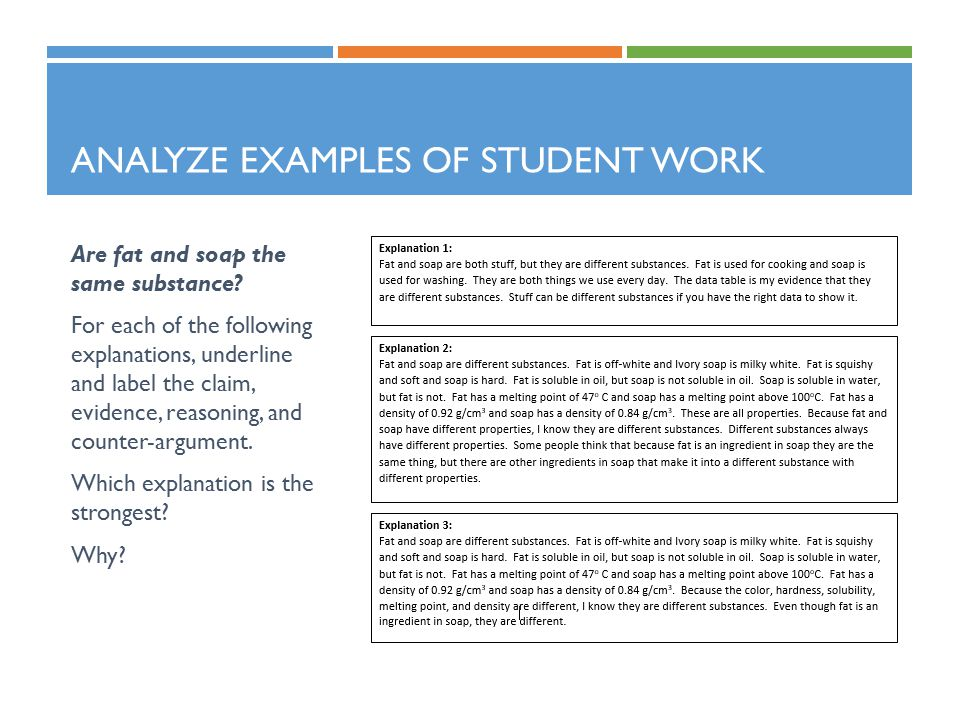 ANALYZE EXAMPLES OF STUDENT WORK Are fat and soap the same substance? For each of the following explanations, underline and label the claim, evidence,