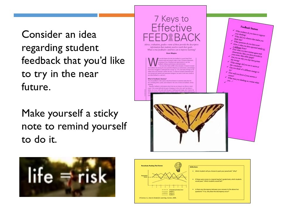 Consider an idea regarding student feedback that you'd like to try in the near future.