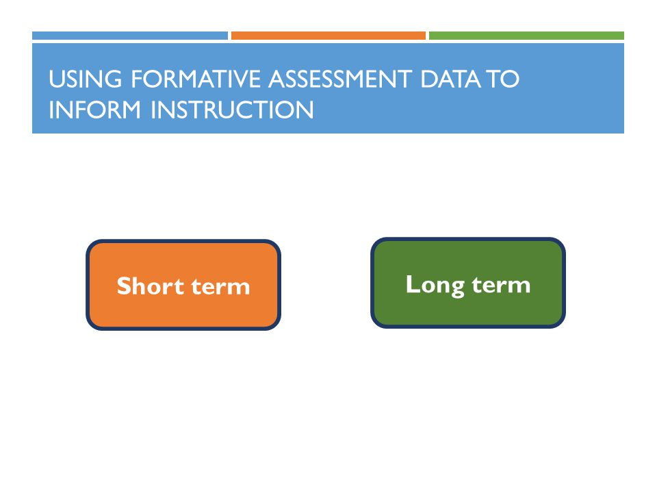 USING FORMATIVE ASSESSMENT DATA TO INFORM INSTRUCTION Short term Long term