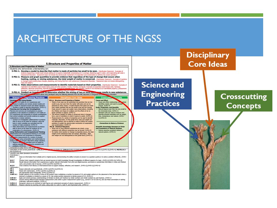 ARCHITECTURE OF THE NGSS Science and Engineering Practices Crosscutting Concepts Disciplinary Core Ideas