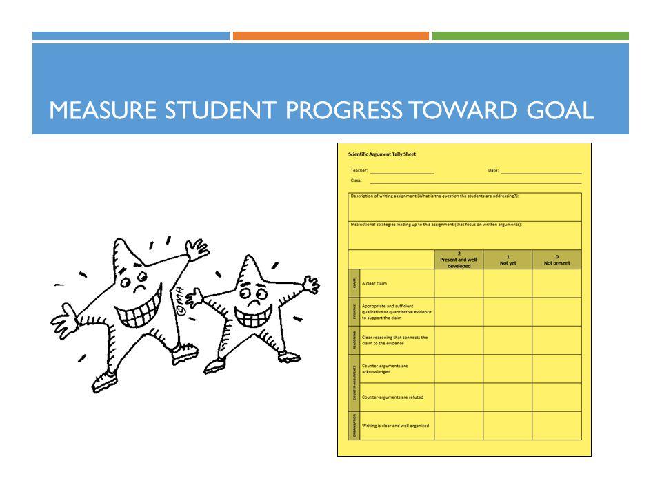 MEASURE STUDENT PROGRESS TOWARD GOAL