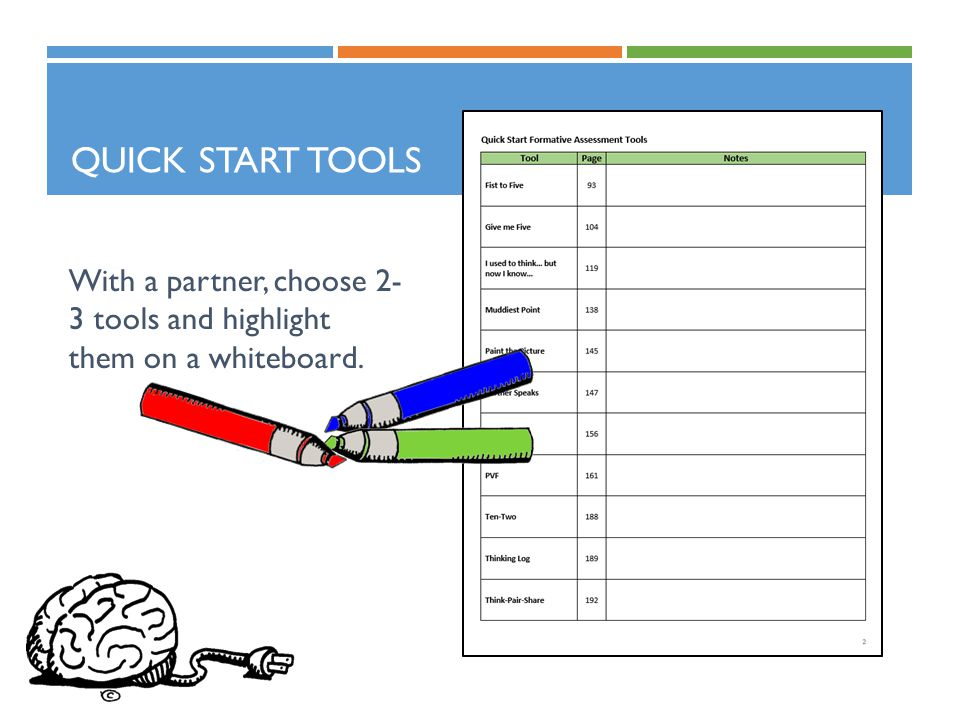 QUICK START TOOLS With a partner, choose 2- 3 tools and highlight them on a whiteboard.