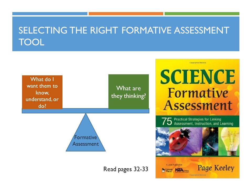 SELECTING THE RIGHT FORMATIVE ASSESSMENT TOOL Read pages 32-33 What do I want them to know, understand, or do? What are they thinking? Formative Asses