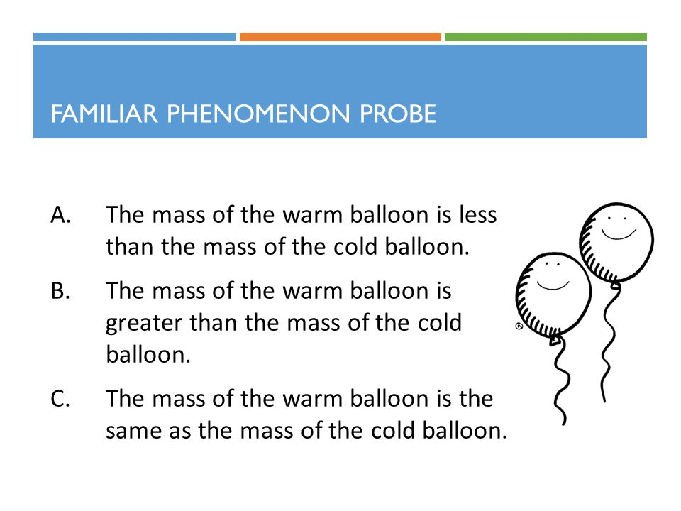 FAMILIAR PHENOMENON PROBE A.The mass of the warm balloon is less than the mass of the cold balloon.