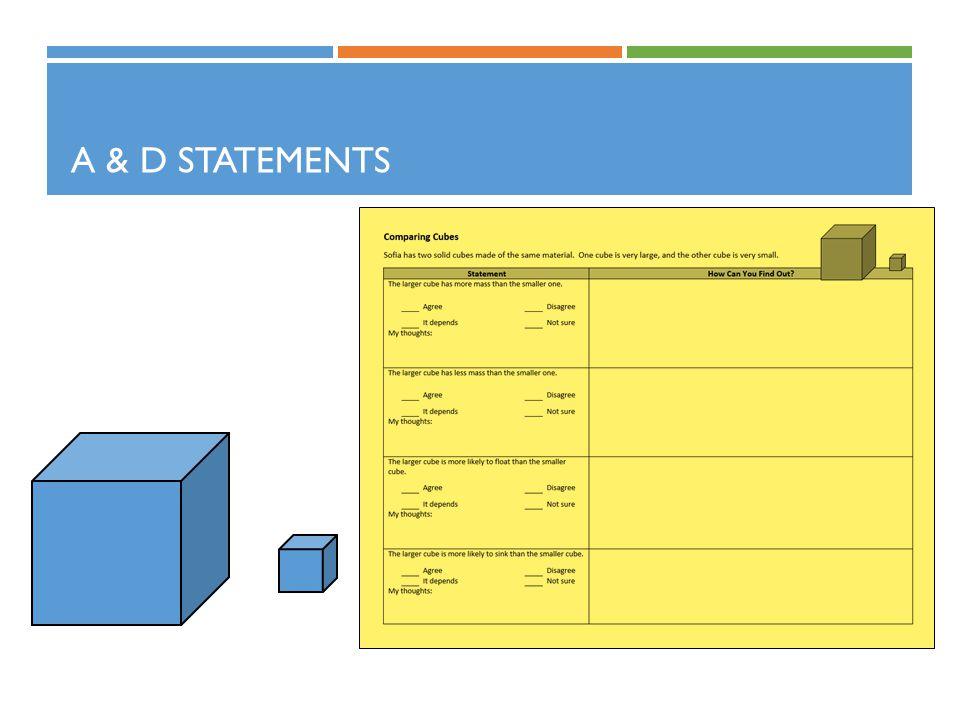 A & D STATEMENTS