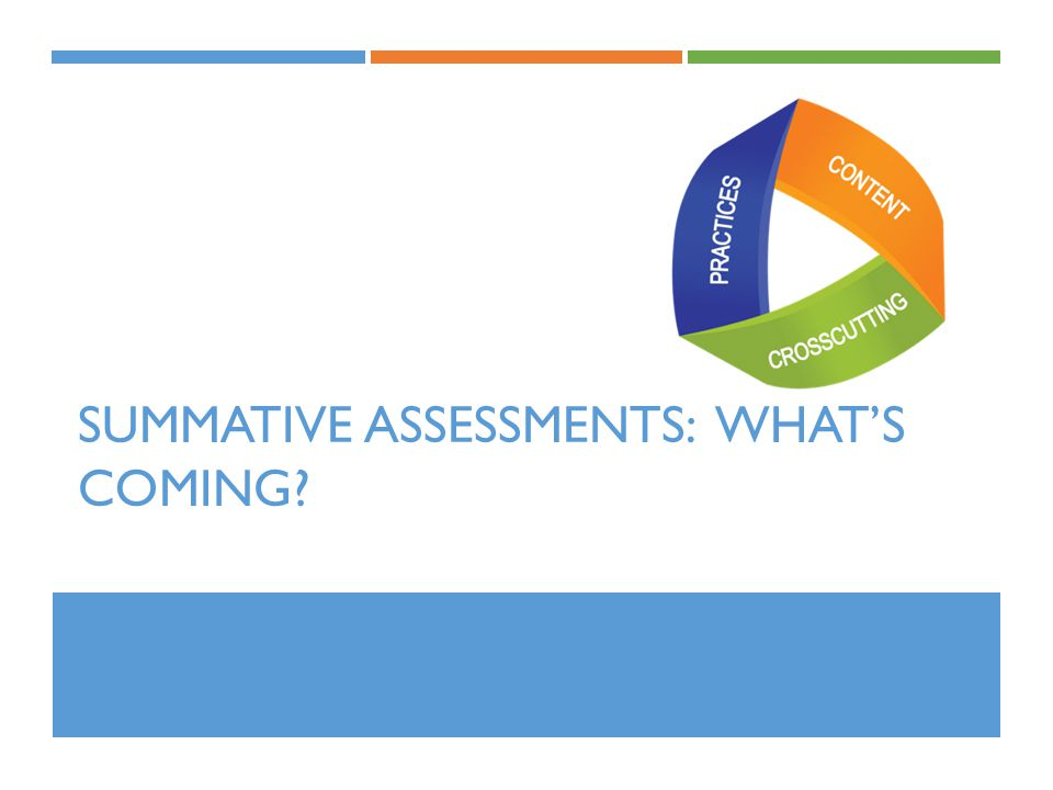 SUMMATIVE ASSESSMENTS: WHAT'S COMING?