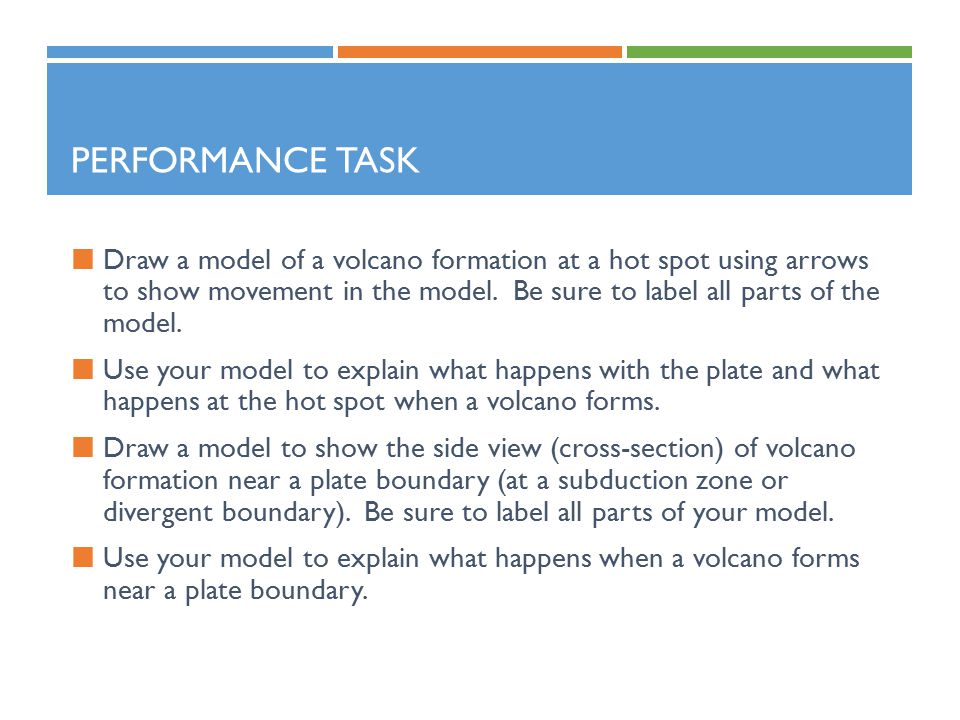 PERFORMANCE TASK Draw a model of a volcano formation at a hot spot using arrows to show movement in the model.