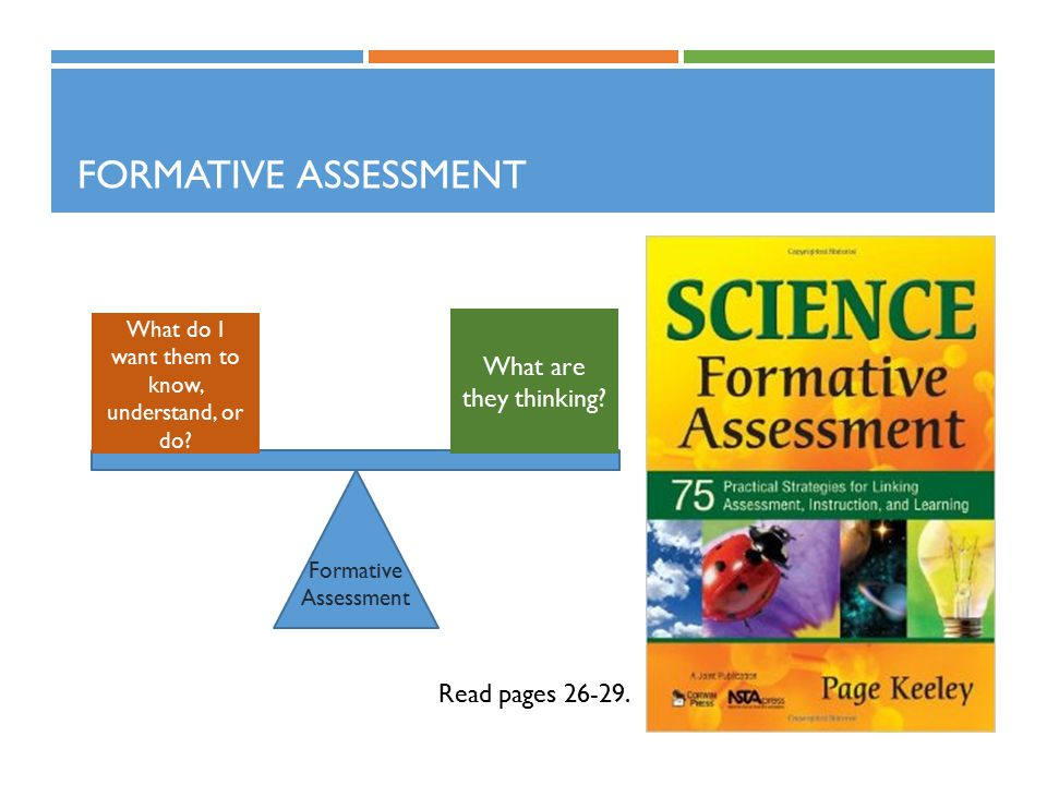 FORMATIVE ASSESSMENT Read pages 26-29. What do I want them to know, understand, or do.
