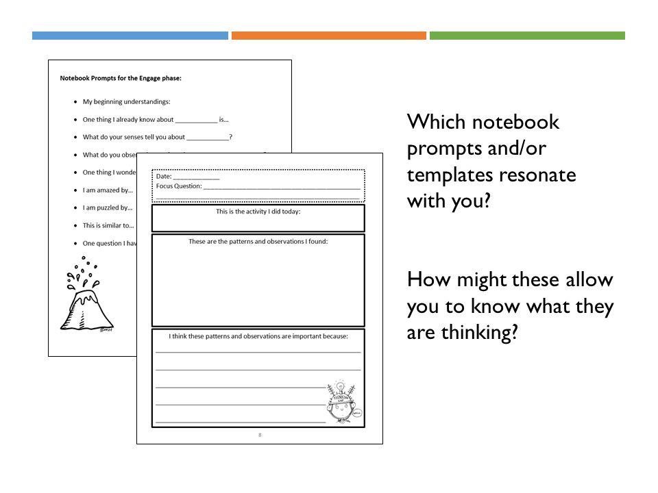 Which notebook prompts and/or templates resonate with you? How might these allow you to know what they are thinking?