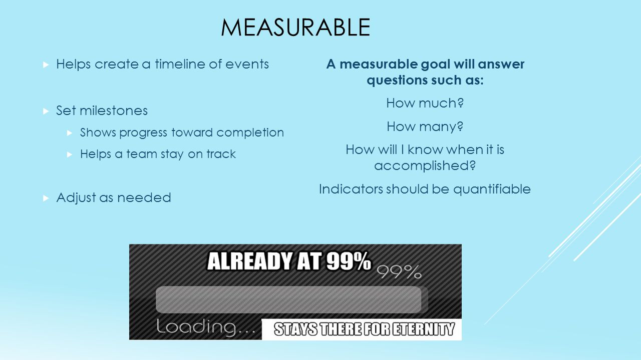 MEASURABLE  Helps create a timeline of events  Set milestones  Shows progress toward completion  Helps a team stay on track  Adjust as needed A m