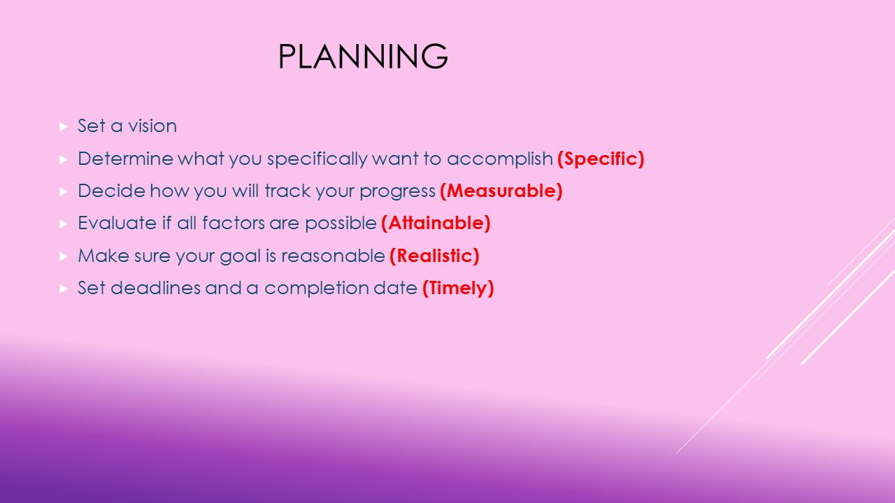 PLANNING  Set a vision  Determine what you specifically want to accomplish (Specific)  Decide how you will track your progress (Measurable)  Evaluate if all factors are possible (Attainable)  Make sure your goal is reasonable (Realistic)  Set deadlines and a completion date (Timely)