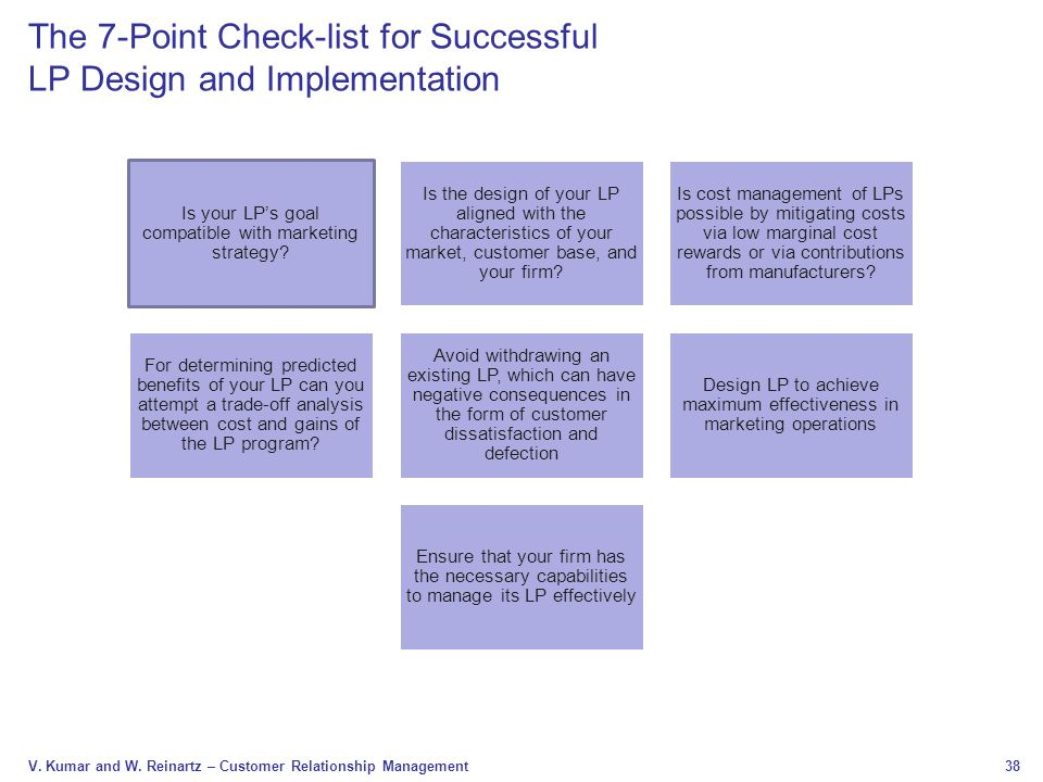 38 V. Kumar and W. Reinartz – Customer Relationship Management The 7-Point Check-list for Successful LP Design and Implementation Is your LP's goal co