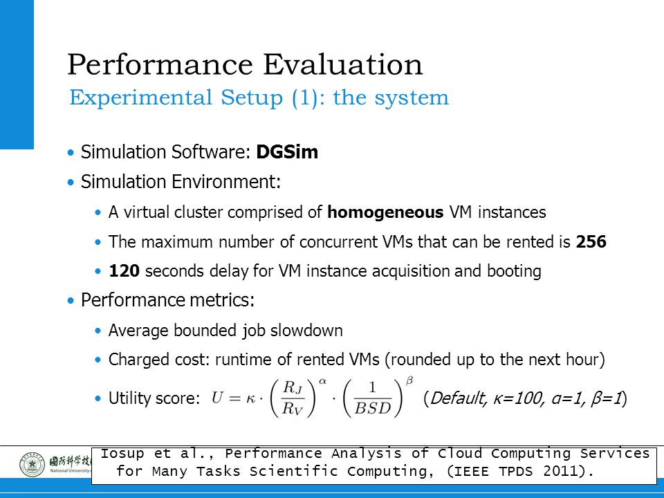 14 Portfolio Scheduling Performance Evaluation Simulation Software: DGSim Simulation Environment: A virtual cluster comprised of homogeneous VM instan