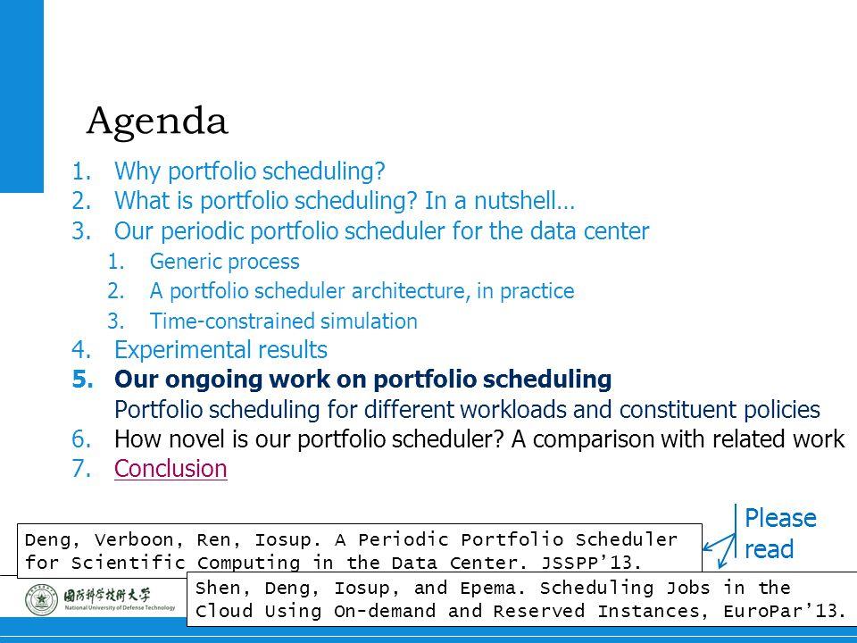 20 Portfolio Scheduling Agenda 1.Why portfolio scheduling.