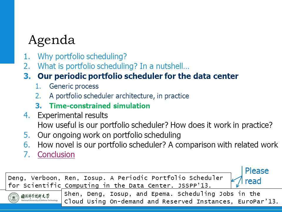 5 Portfolio Scheduling Agenda 1.Why portfolio scheduling? 2.What is portfolio scheduling? In a nutshell… 3.Our periodic portfolio scheduler for the da