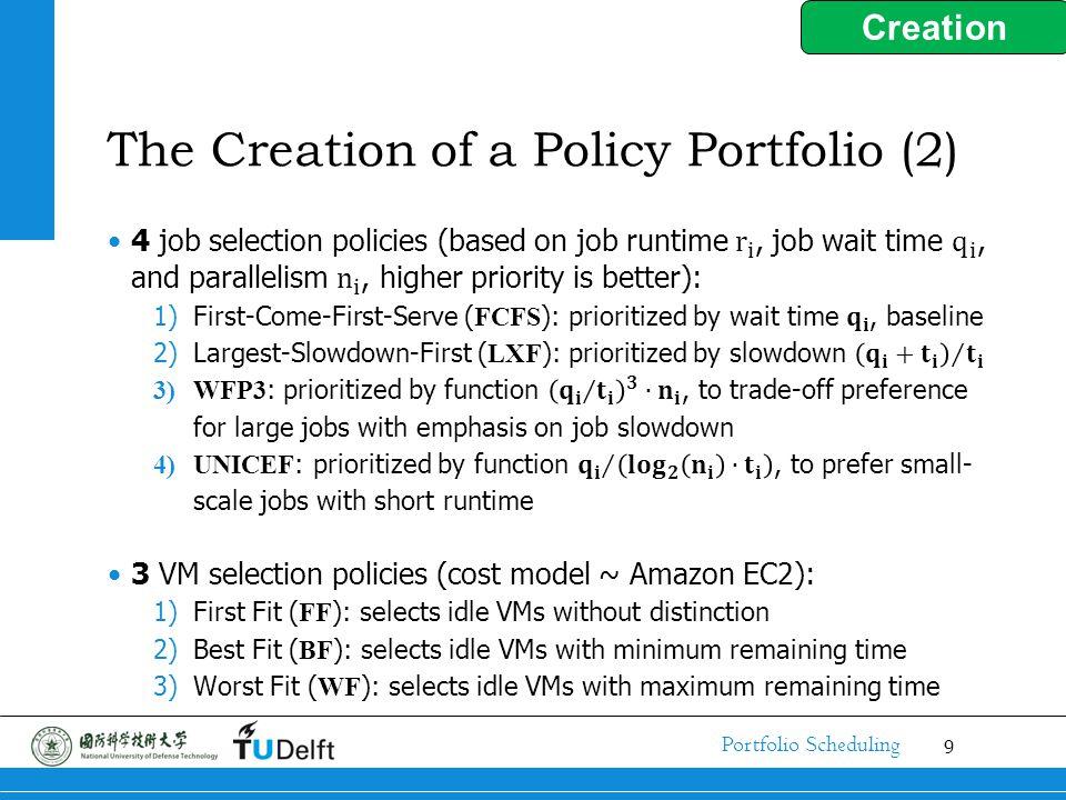 9 Portfolio Scheduling The Creation of a Policy Portfolio (2) Creation