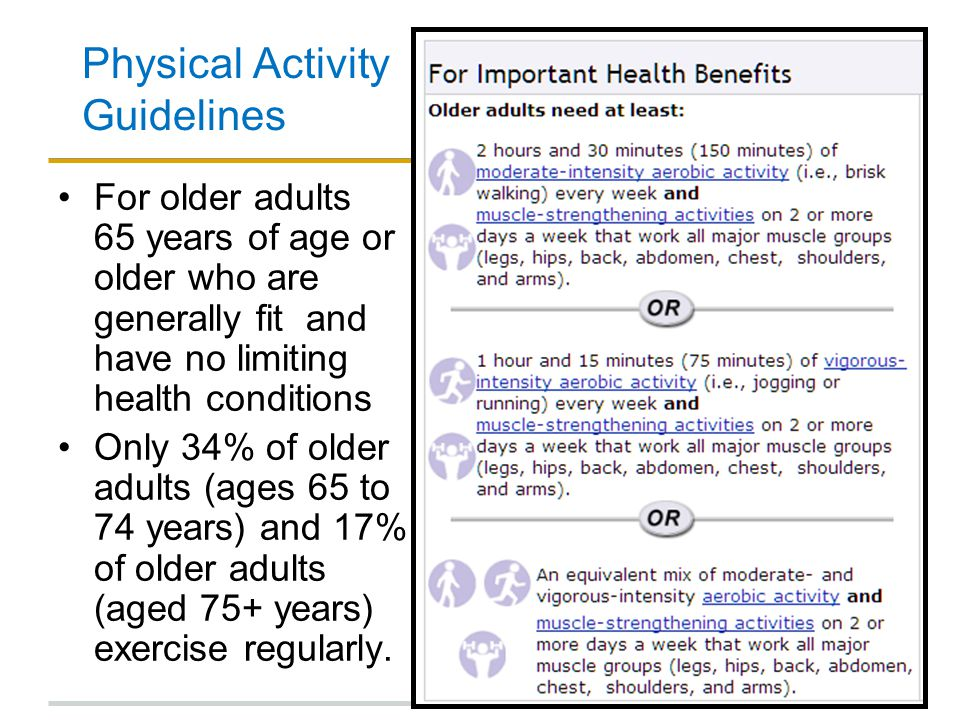 Physical Activity Guidelines For older adults 65 years of age or older who are generally fit and have no limiting health conditions Only 34% of older