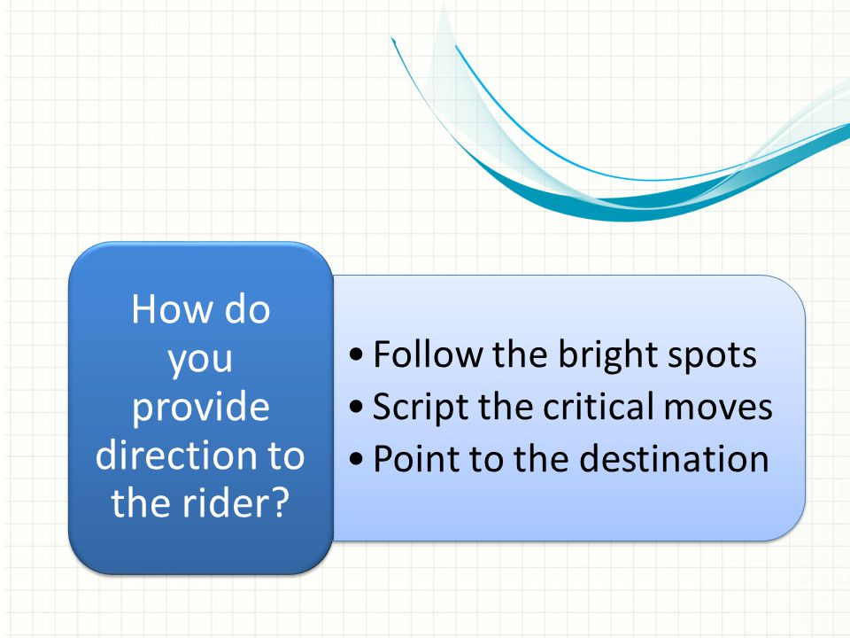 Follow the bright spots Script the critical moves Point to the destination Follow the bright spots Script the critical moves Point to the destination How do you provide direction to the rider